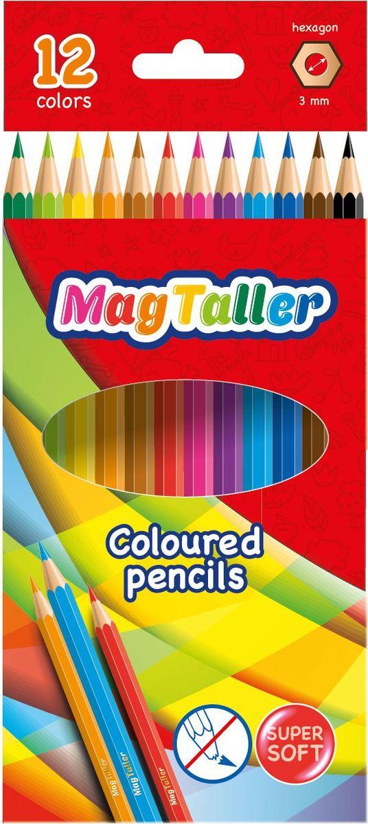 MagTaller Набор цветных карандашей Kuvio 12 цветов542004Набор MagTaller Kuvio - цветные карандаши шестигранной формы, ударопрочные, имеют яркие цвета. Диаметр грифеля 3 мм, корпус из натурального дерева покрыт многослойным лаком.