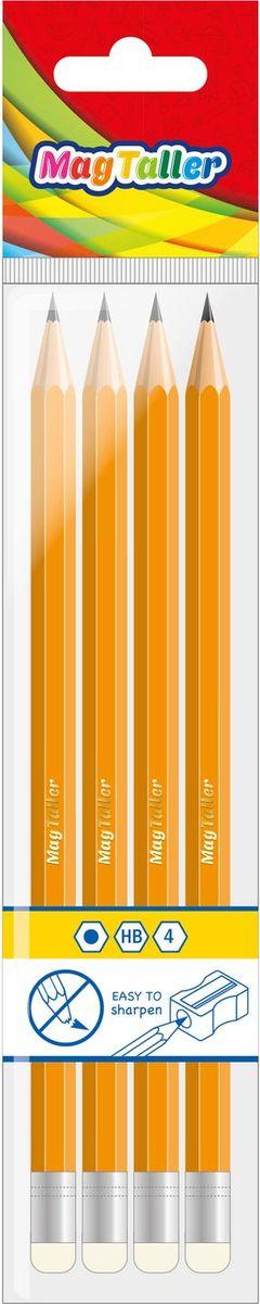 Карандаши Magtaller MUSTA чернограф.с резинкой, НВ, 4шт. карандаши чернографитные index i301 2h черный корпус