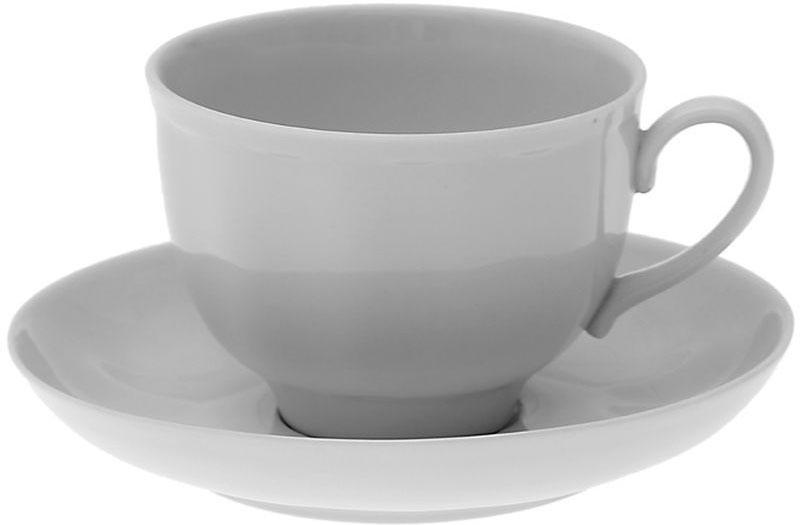 Чашка чайная Дулевский Фарфор Гранатовый. Белая, с блюдцем, 230 мл кружка дулевский фарфор русское поле белая 210 мл