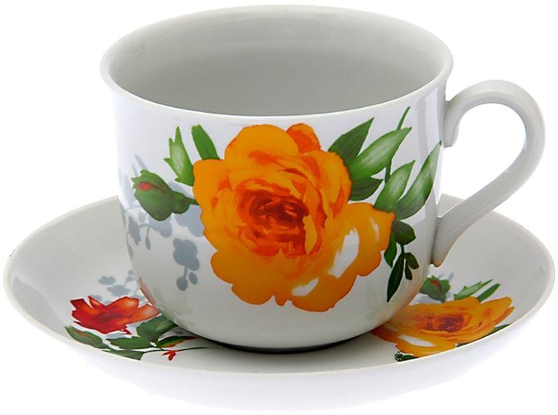 Чашка чайная Дулевский Фарфор Ностальгия. Роза без отводки, с блюдцем, 450 мл чашка чайная дулевский фарфор тюльпан розовая птица с блюдцем 220 мл