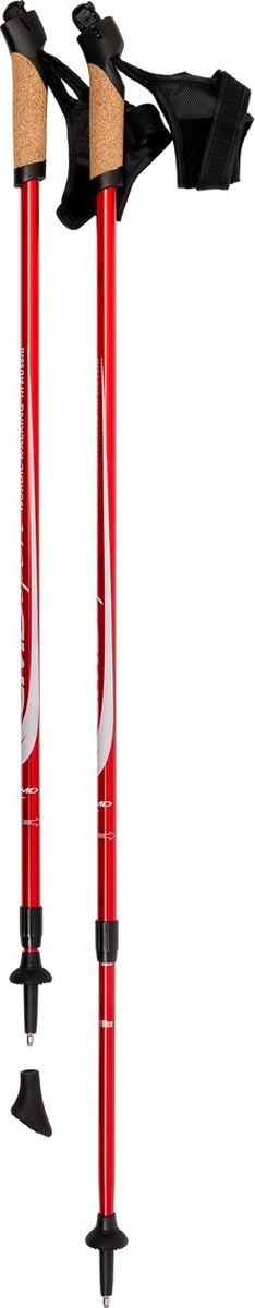 Палки для скандинавской ходьбы CMD Sport, телескопические, цвет: красный, S-M, длина 90-140 см, 2 шт палки для скандинавской ходьбы vento nordic телескопические цвет зеленый 90 125 см 2 шт