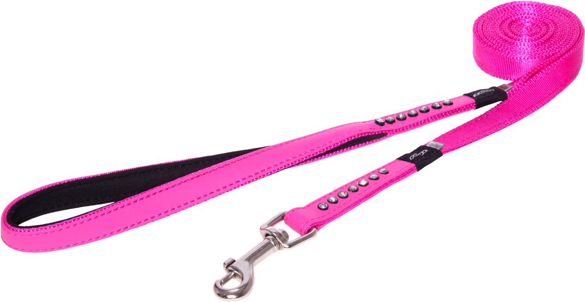 """Поводок для собак Rogz """"Luna"""", цвет: розовый, ширина 1,6 см, длина 1,8 м. Размер M"""