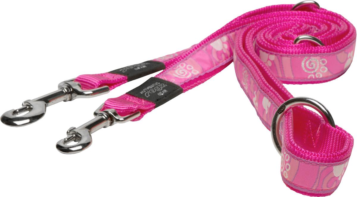 Поводок-перестежка для собак Rogz Fancy Dress, цвет: розовый, ширина 2 см поводок для собак rogz fancy dress удлиненный цвет черный ширина 2 5 см размер xl