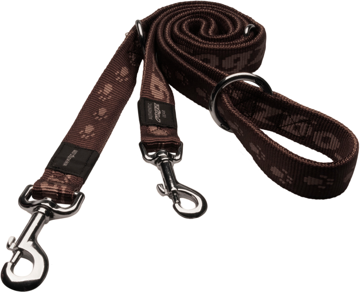 Поводок-перестежка для собак Rogz Alpinist, цвет: коричневый, ширина 2 см. Размер L поводок для собак happy house luxury цвет темно коричневый длина 125 см