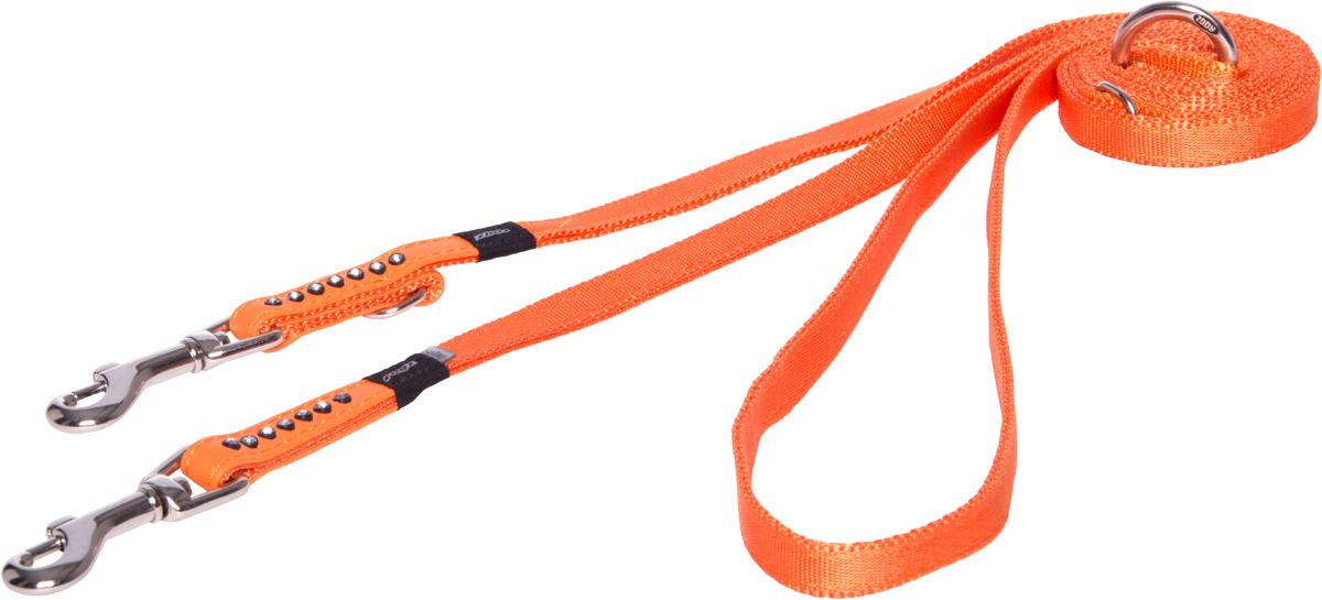 Поводок-перестежка для собак Rogz Luna, цвет: оранжевый, ширина 1,1 см. Размер XS для собак поводок