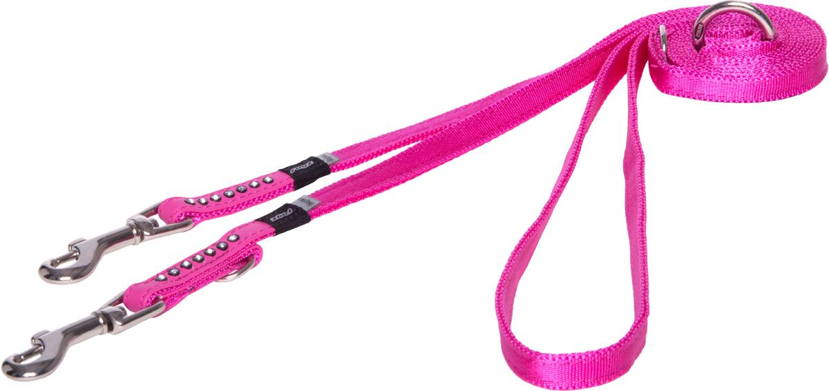 Поводок-перестежка для собак Rogz Luna, цвет: розовый, ширина 1,1 см. Размер XS для собак поводок
