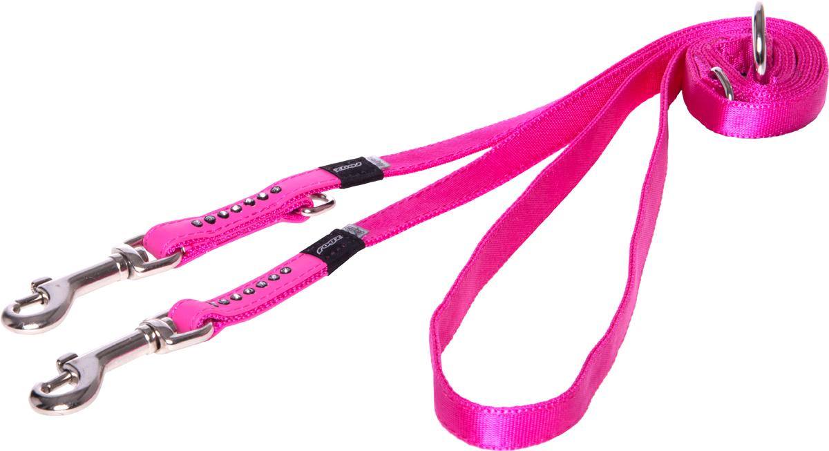 Поводок-перестежка для собак Rogz Luna, цвет: розовый, ширина 1,3 см. Размер S для собак поводок