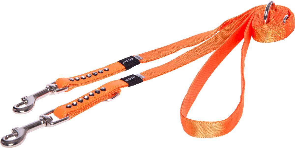 Поводок-перестежка для собак Rogz Luna, цвет: оранжевый, ширина 1,6 см. Размер M для собак поводок