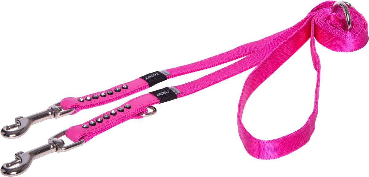 Поводок-перестежка для собак Rogz Luna, цвет: розовый, ширина 1,6 см. Размер M для собак поводок