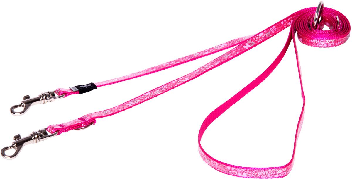 Поводок-перестежка для собак Rogz Trendy, цвет: розовый, ширина 0,8 см для собак поводок
