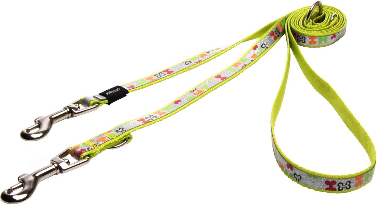Поводок-перестежка для собак Rogz Trendy, цвет: салатовый, ширина 1,2 см поводок для собак happy house luxury цвет темно коричневый длина 125 см