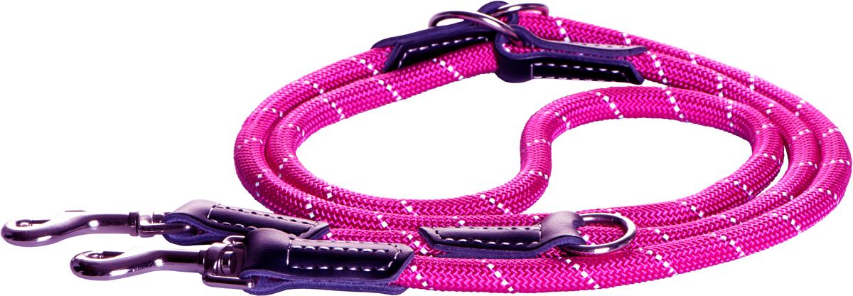"""Поводок-перестежка для собак Rogz """"Rope"""", цвет: розовый, ширина 0,9 см. Размер M"""