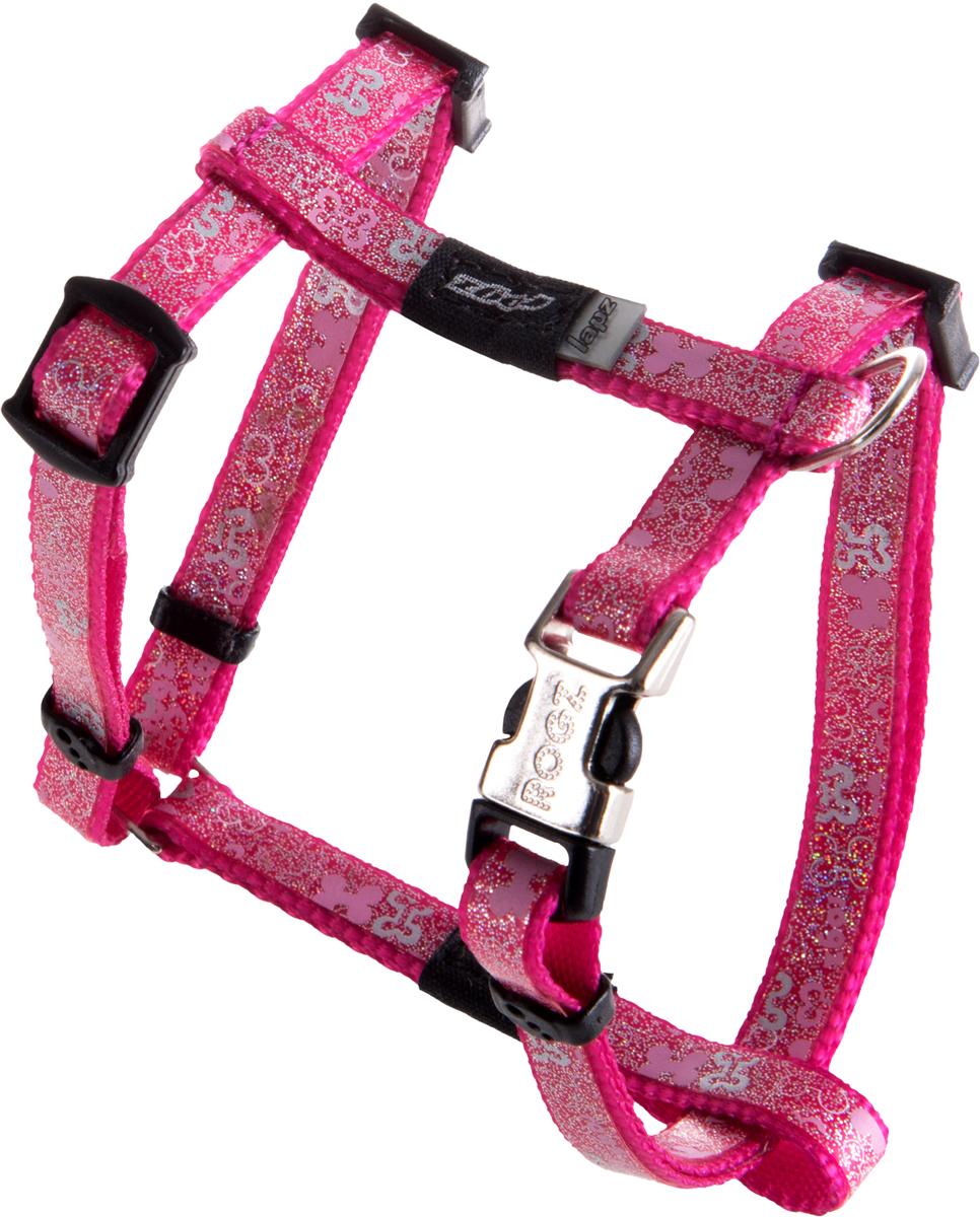 "Шлейка для собак Rogz ""Trendy"", цвет: розовый, ширина 0,8 см. Размер XS"
