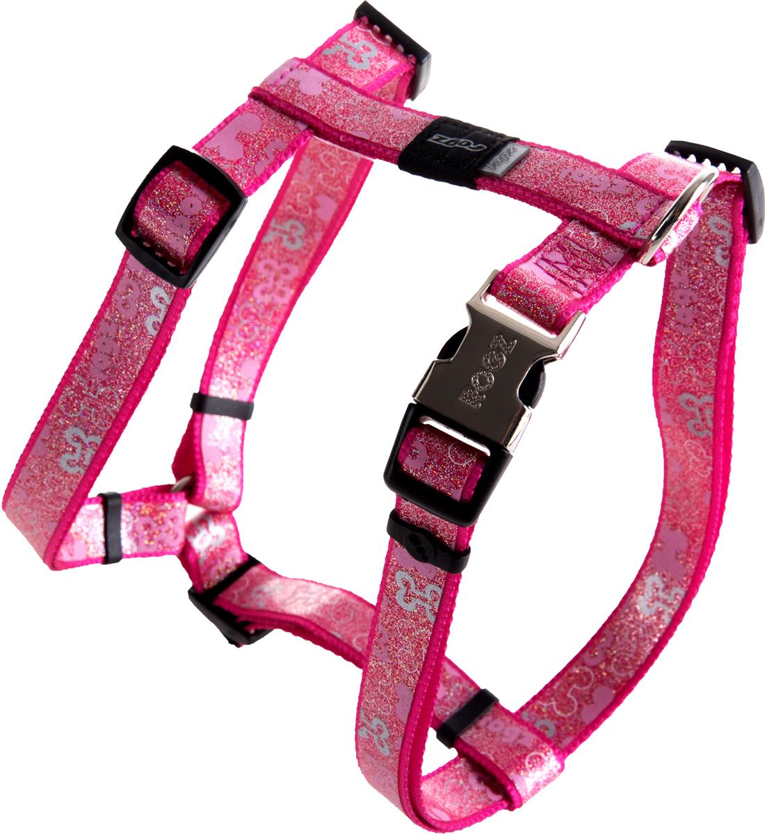 "Шлейка для собак Rogz ""Trendy"", цвет: розовый, ширина 1,6 см. Размер M"