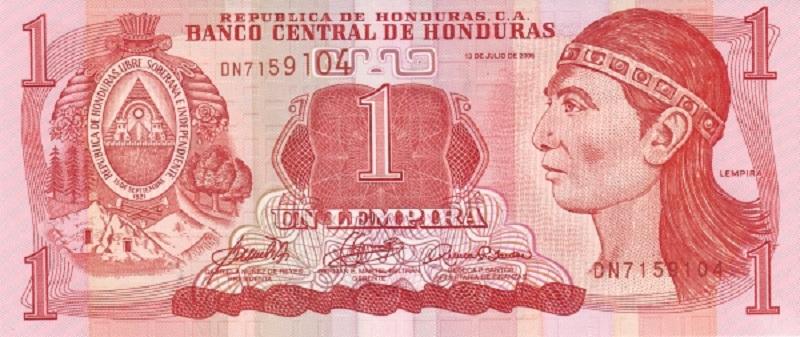 Банкнота номиналом 1 лемпира. Гондурас, 2006 год