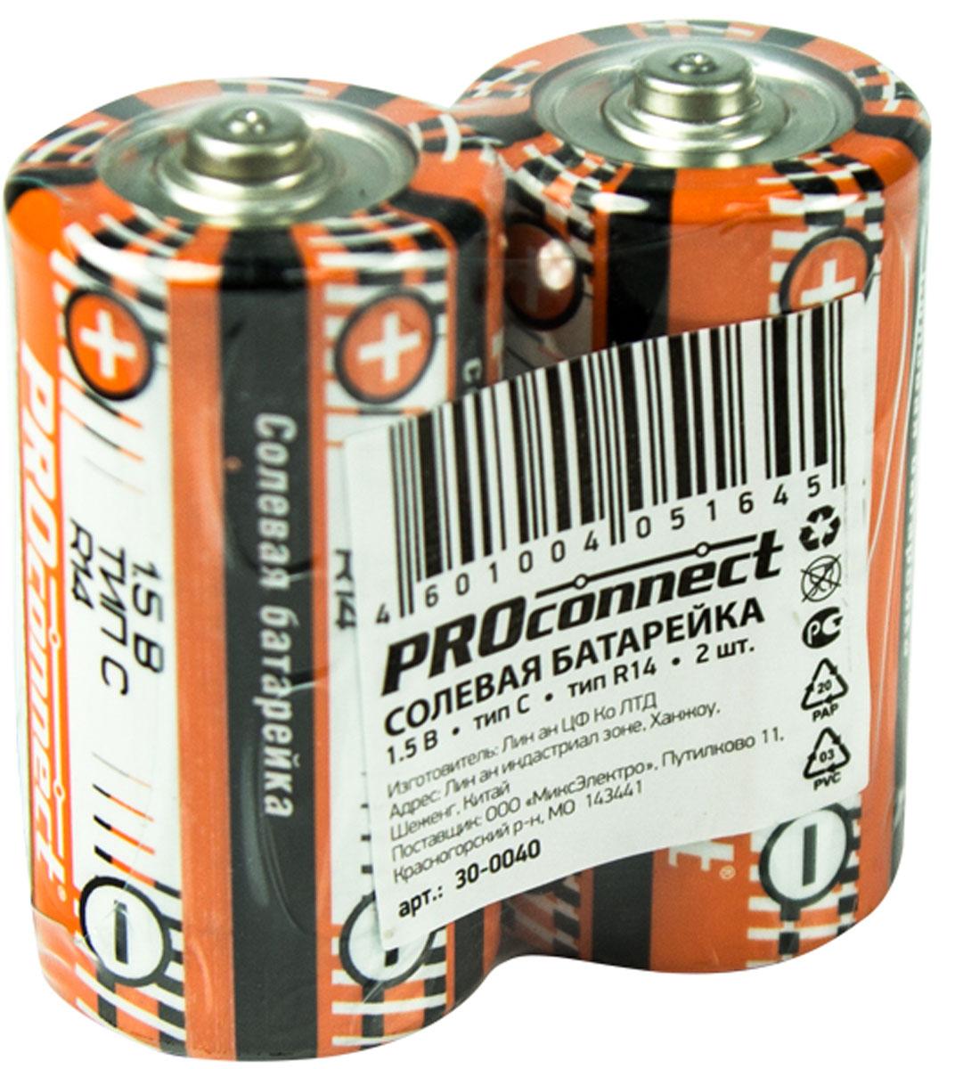 Батарейка солевая PROconnect, тип С-R14, 2 шт energizer батарейка солевая eveready r14 тип c 2шт