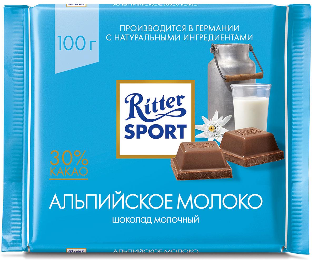 Ritter Sport Альпийское молоко Шоколад молочный с альпийским молоком, 100 г шоколад молочный ritter sport ром орех изюм 100 г