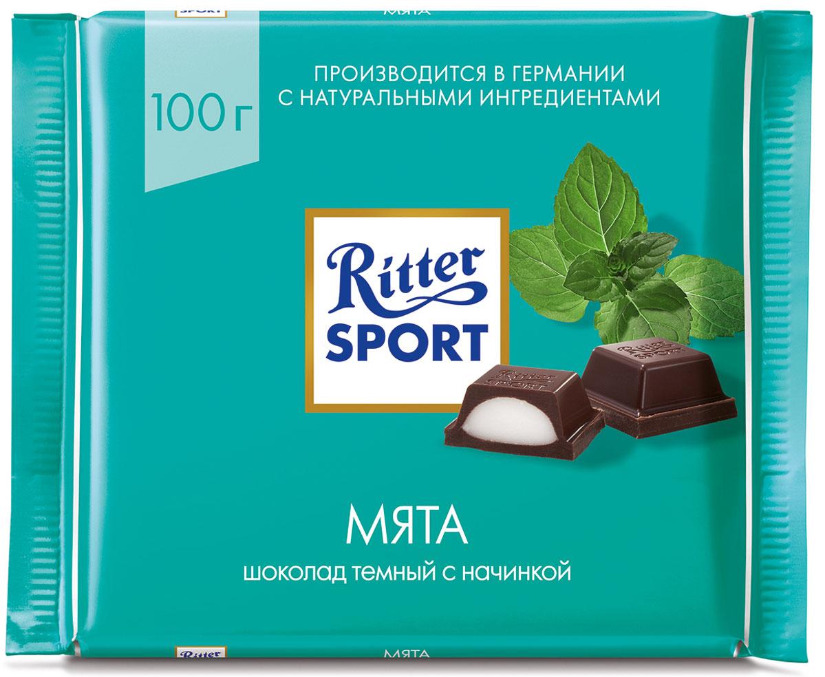 Ritter Sport Мята шоколад темный с мятной начинкой, 100 г ritter sport мята шоколад темный с мятной начинкой 100 г