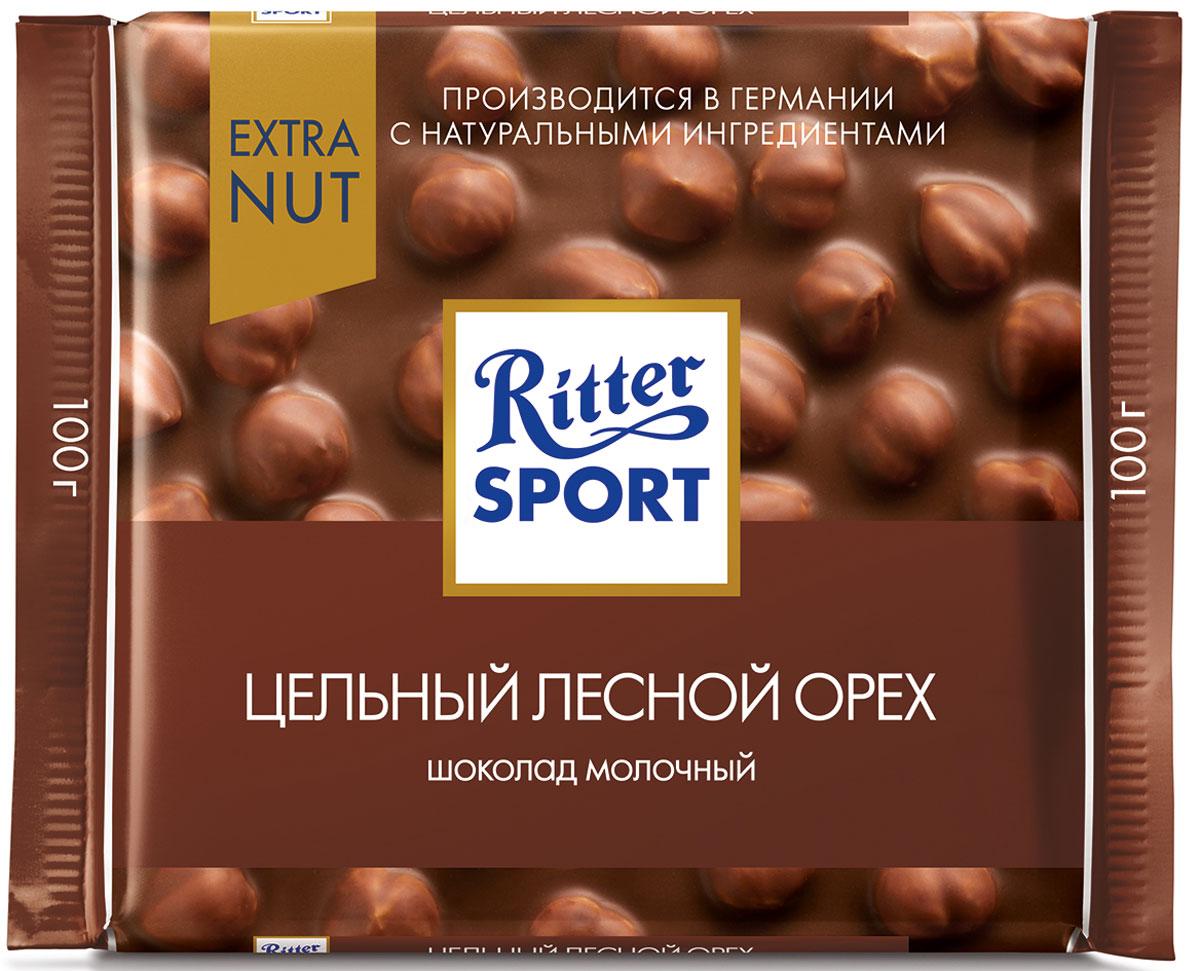 Ritter Sport Цельный лесной орех Шоколад молочный с цельным обжаренным орехом лещины, 100 г шоколад молочный ritter sport ром орех изюм 100 г