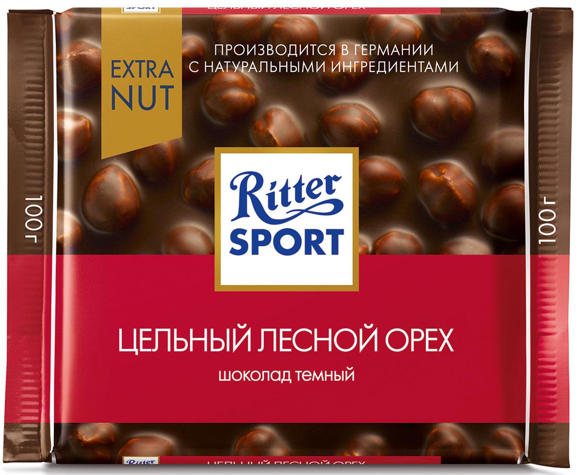 Ritter Sport Цельный лесной орех Шоколад темный с цельным обжаренным орехом лещины, 100 г ritter sport лесной орех шоколад молочный с обжаренным орехом лещины 100 г