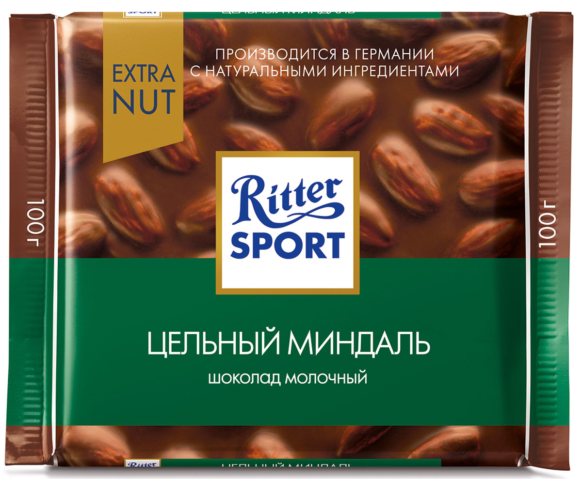 Ritter Sport Цельный миндаль Шоколад молочный с цельным миндалем, 100 г шоколад ritter sport 646316
