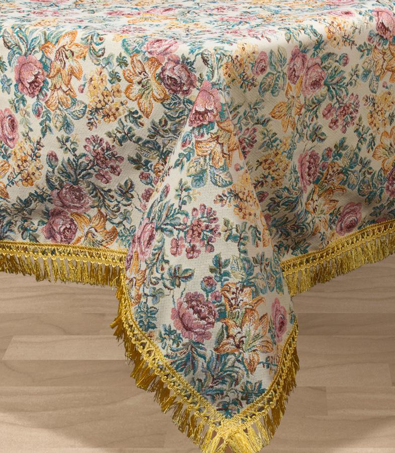 Скатерть Les Gobelins Arrangement De Fleurs, квадратная, цвет: бежевый, 130 х 130 см покрывало на кресло les gobelins mexique 50 х 120 см