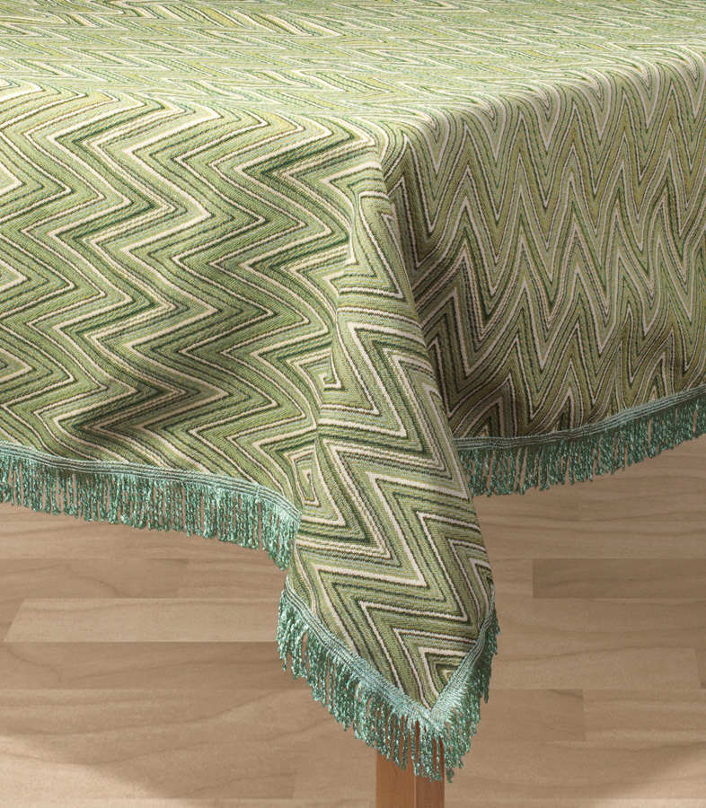 Скатерть Les Gobelins Zigzag, квадратная, цвет: зеленый, 130 х 130 см покрывало на кресло les gobelins mexique 50 х 120 см