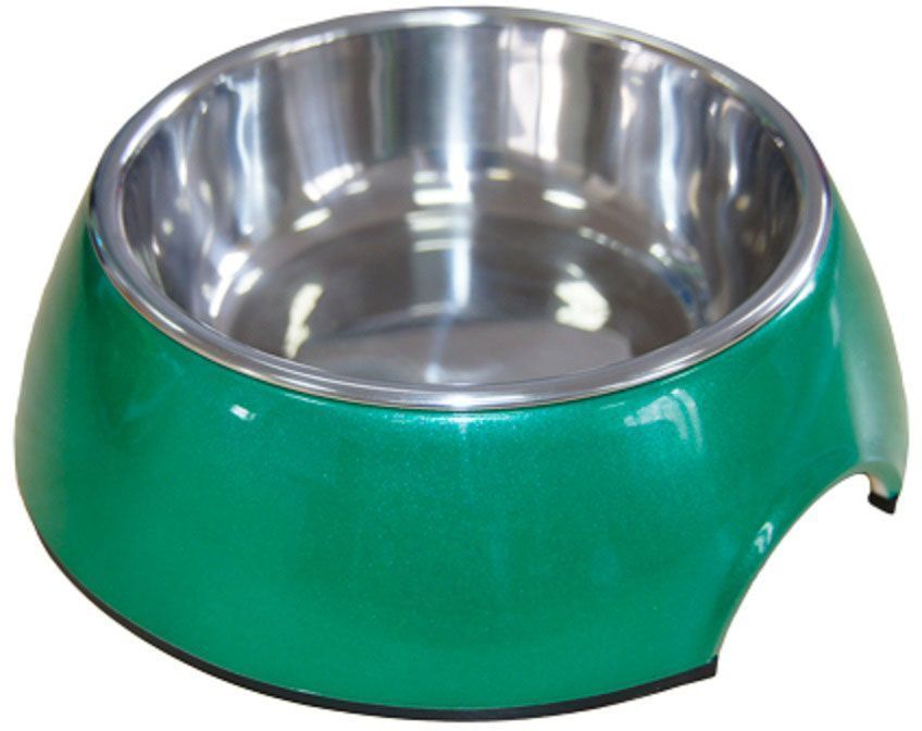Миска для животных Super Design, на меламиновой подставке, цвет: зеленый перламутр, 160 мл миска для животных super design на меламиновой подставке 0 16л полоски