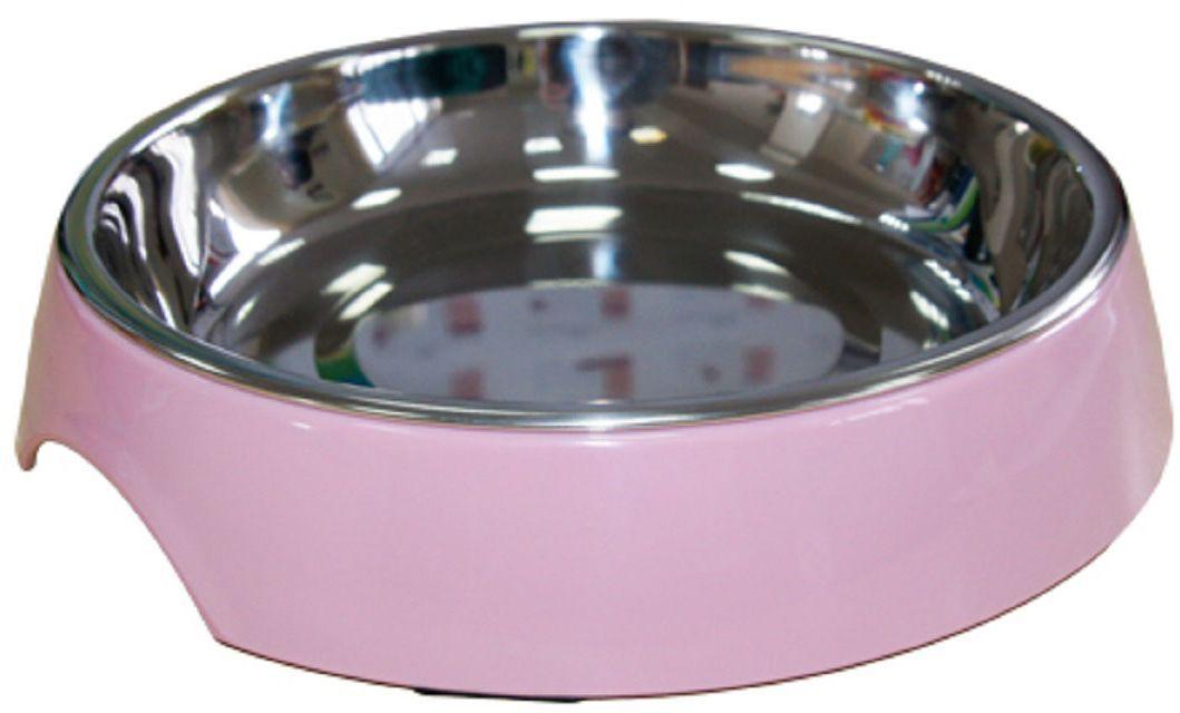 Миска для животных Super Design, на меламиновой подставке, цвет: розовая пудра, 250 мл миска для животных super design на меламиновой подставке 0 16л полоски