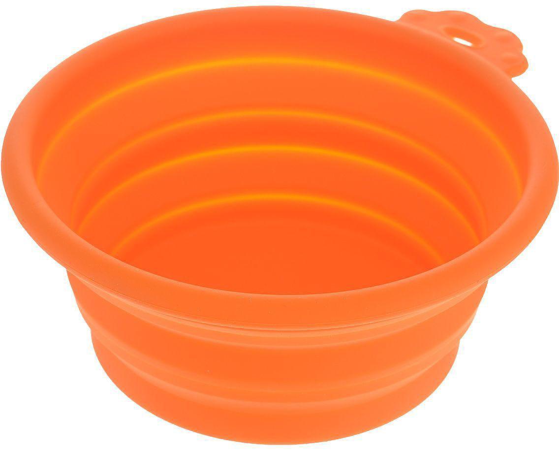 """Миска для животных """"Super Design"""", силиконовая, складная, цвет: оранжевый, 700 мл"""