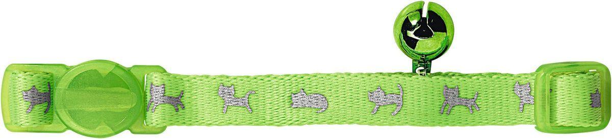 Ошейник для кошек Hunter Smart Neon, с бубенчиком, цвет: зеленый ошейник для кошек ms kiss репеллентный цвет зеленый длина 38 см