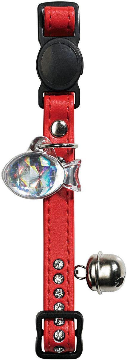 Ошейник для кошек Hunter Smart Modern Luxus, со стразами и бубенчиком, цвет: красный ошейник pet line для животных со стразами цвет красный длина 24 5 см