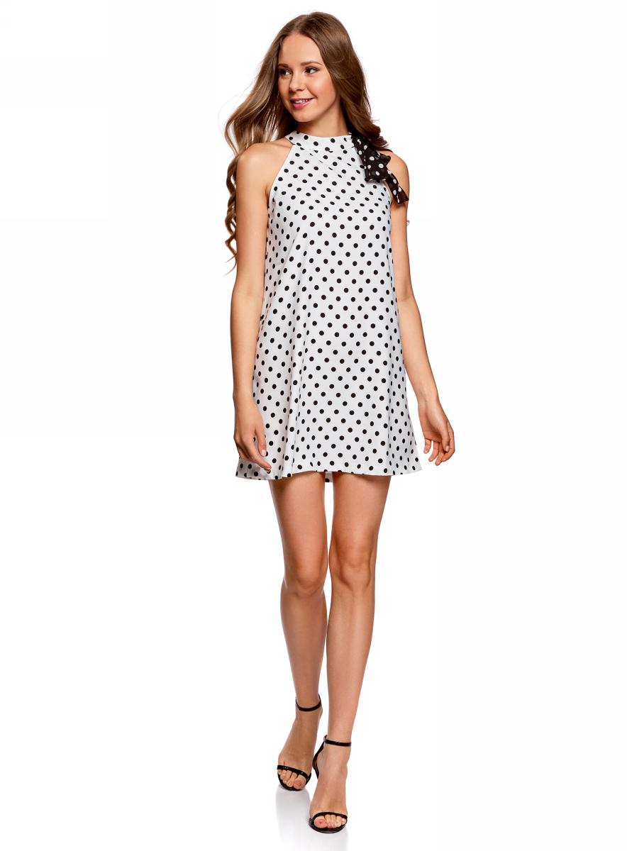 Платье oodji Ultra, цвет: белый, черный. 11914004/42818/1229D. Размер 34-170 (40-170)11914004/42818/1229D