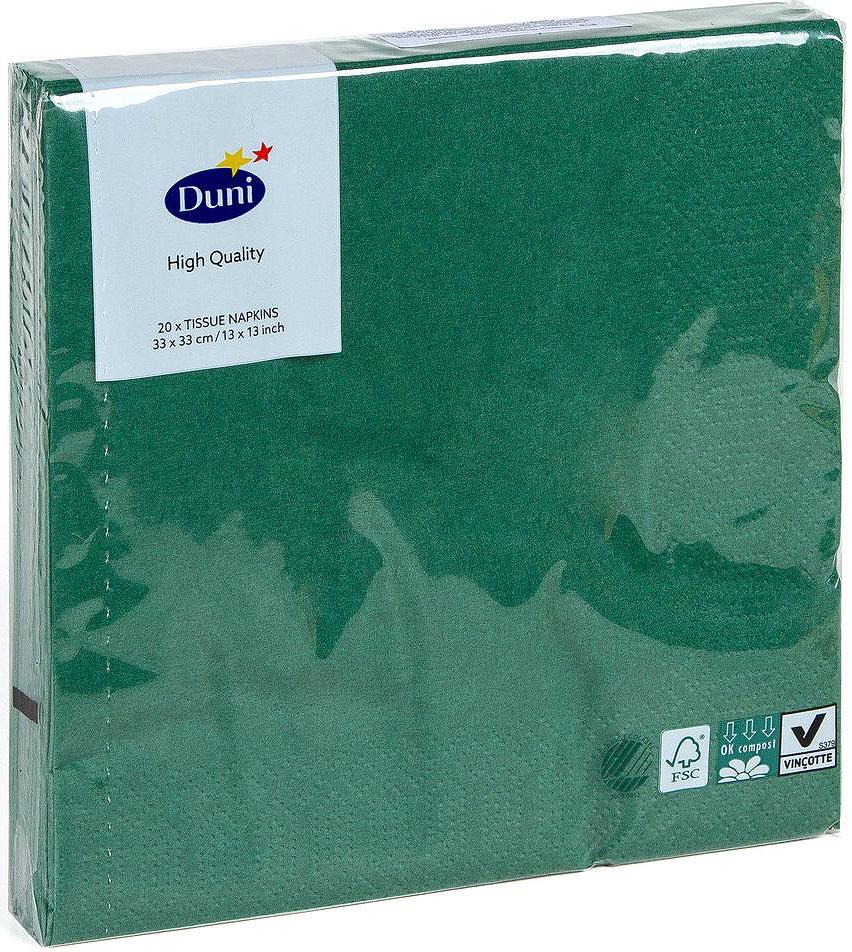 Салфетки бумажные Duni, 3-слойные, цвет: зеленый, 33 х 33 см, 20 шт салфетки бумажные duni 3 слойные цвет красный зеленый желтый 33 х 33 см 172104