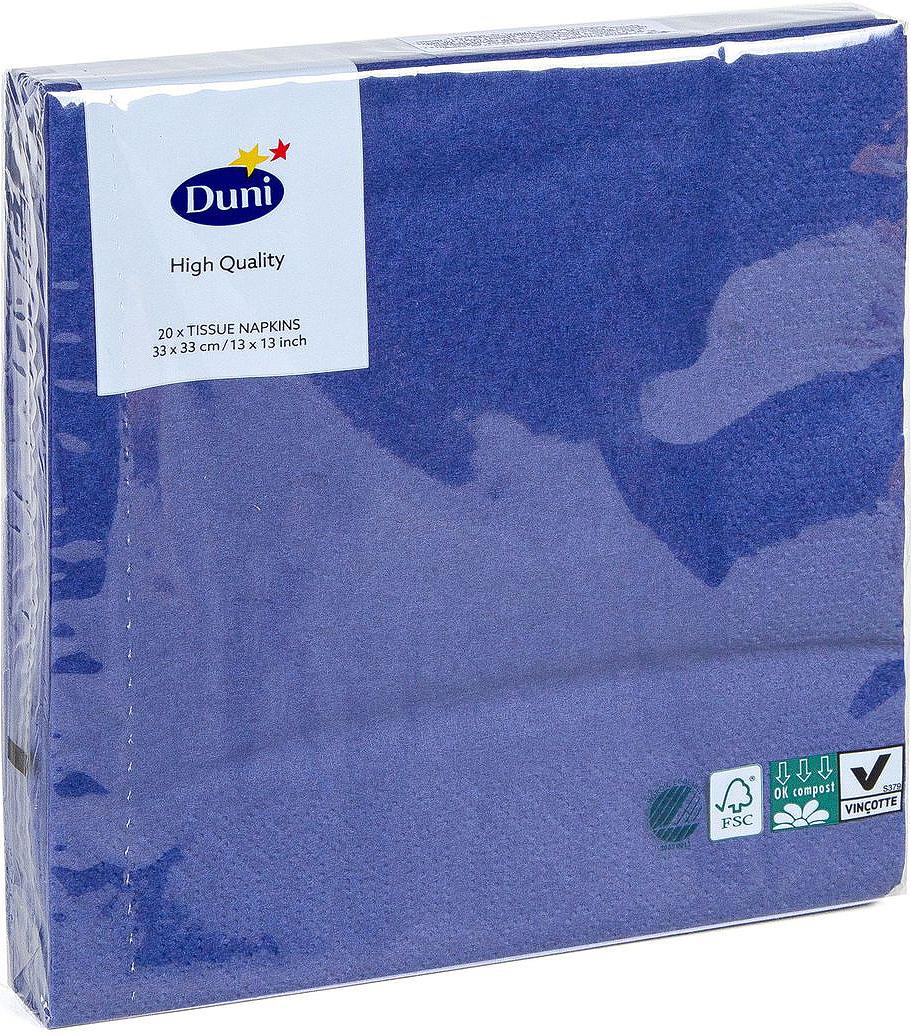Салфетки бумажные Duni, 3-слойные, цвет: синий, 33 х 33 см, 20 шт салфетки бумажные duni белые розы 3 слойные 33 х 33 см 20 шт