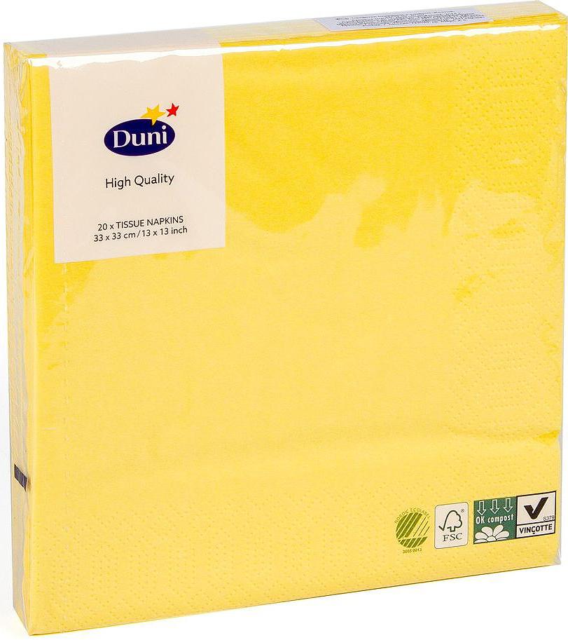 Салфетки бумажные Duni, 3-слойные, цвет: желтый, 33 х 33 см, 20 шт салфетки бумажные duni белые розы 3 слойные 33 х 33 см 20 шт