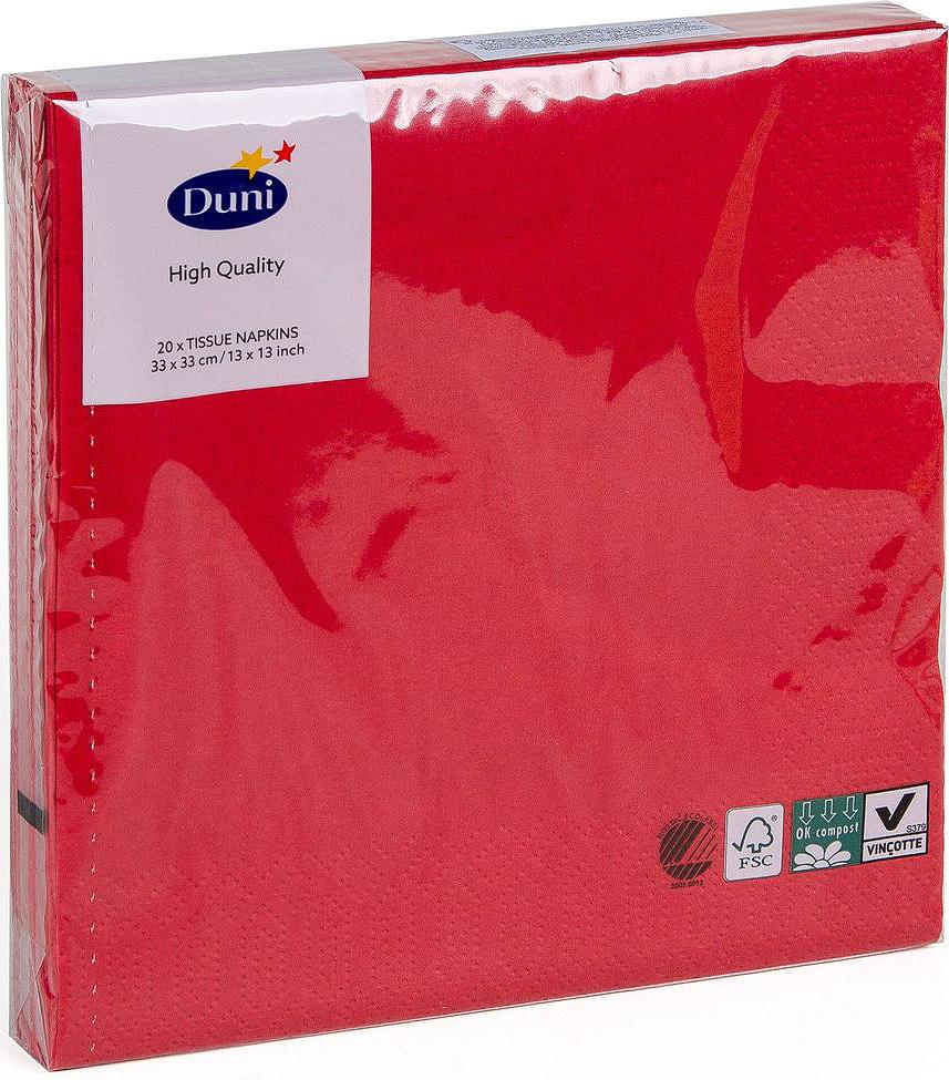 Салфетки бумажные Duni, 3-слойные, цвет: красный, 33 х 33 см, 20 шт салфетки бумажные duni 3 слойные цвет красный зеленый желтый 33 х 33 см 172104