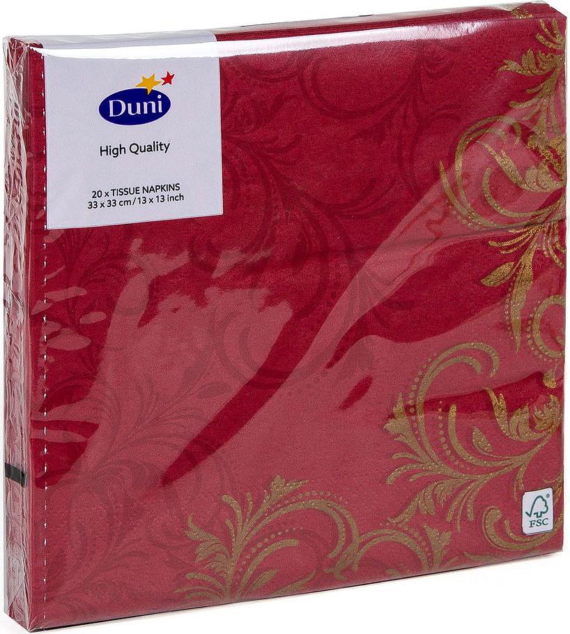 Салфетки бумажные Duni Grace, 3-слойные, цвет: бордовый, 33 х 33 см, 20 шт салфетки бумажные duni белые розы 3 слойные 33 х 33 см 20 шт