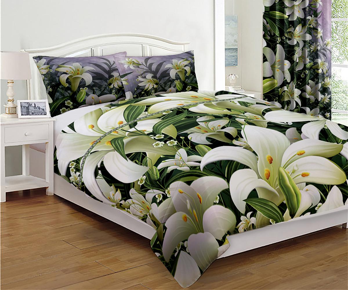 "Комплект для спальни МарТекс ""Белые лилии"": покрывало 200 х 220 см, 2 наволочки 50х70 см"