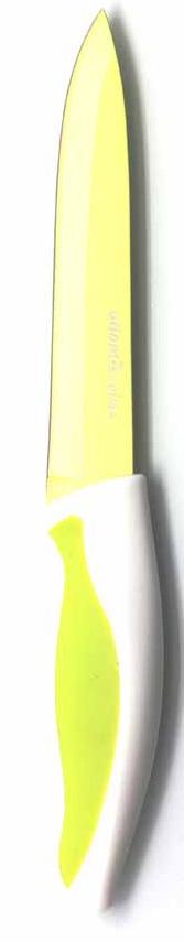 Нож для нарезки Atlantis, цвет: зеленый, длина лезвия 13 см. L-5U-GL-5U-GНож кухонный Atlantis высшего качества предназначен для профессионального и домашнего использования, для нарезки продуктов. Очень удобная и эргономичная ручка не позволит выскользнуть ножу из вашей руки. Особенности ножа Atlantis: японская высокоуглеродистая нержавеющая сталь прочный и острый клинок безопасное и прочное покрытие лезвия не дающее пище прилипать к ножу красивое сочетание цветов ручки и лезвия. Характеристики: Материал: нержавеющая сталь, пластик. Длина лезвия: 13 см. Длина общая: 24 см. Производитель: Китай. Артикул: L-5U-G.