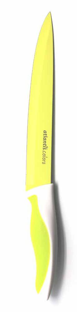 Нож для нарезки Atlantis, цвет: зеленый, длина лезвия 20 см. L-8S-GL-8S-GНож кухонный Atlantis высшего качества предназначен для профессионального и домашнего использования, для нарезки продуктов. Очень удобная и эргономичная ручка не позволит выскользнуть ножу из вашей руки. Особенности ножа Atlantis: японская высокоуглеродистая нержавеющая сталь прочный и острый клинок безопасное и прочное покрытие лезвия не дающее пище прилипать к ножу красивое сочетание цветов ручки и лезвия. Характеристики: Материал: нержавеющая сталь, пластик. Длина лезвия: 20 см. Длина общая: 33,5 см. Производитель: Китай. Артикул: L-8S-G.
