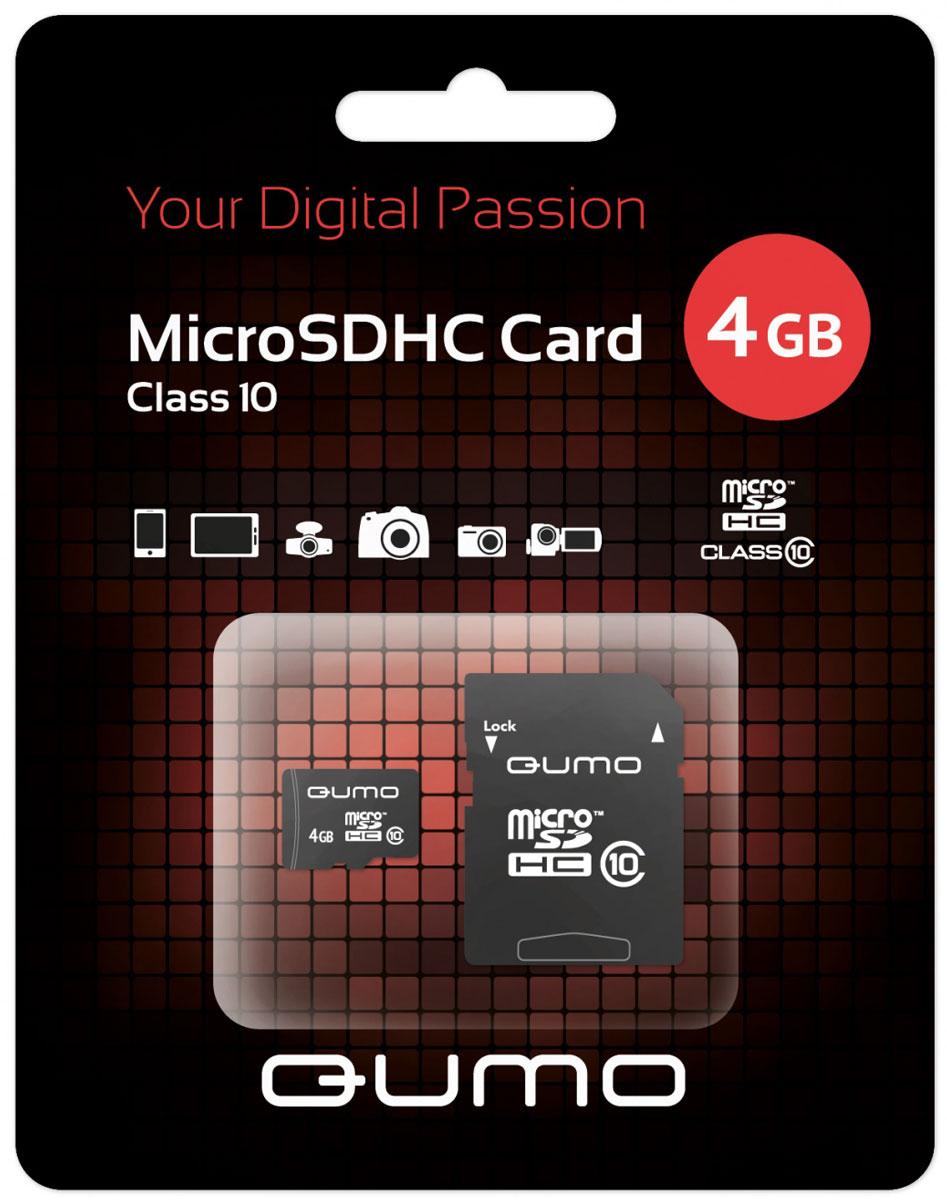 цена на QUMO microSDHC Class 10 4GB карта памяти с адаптером