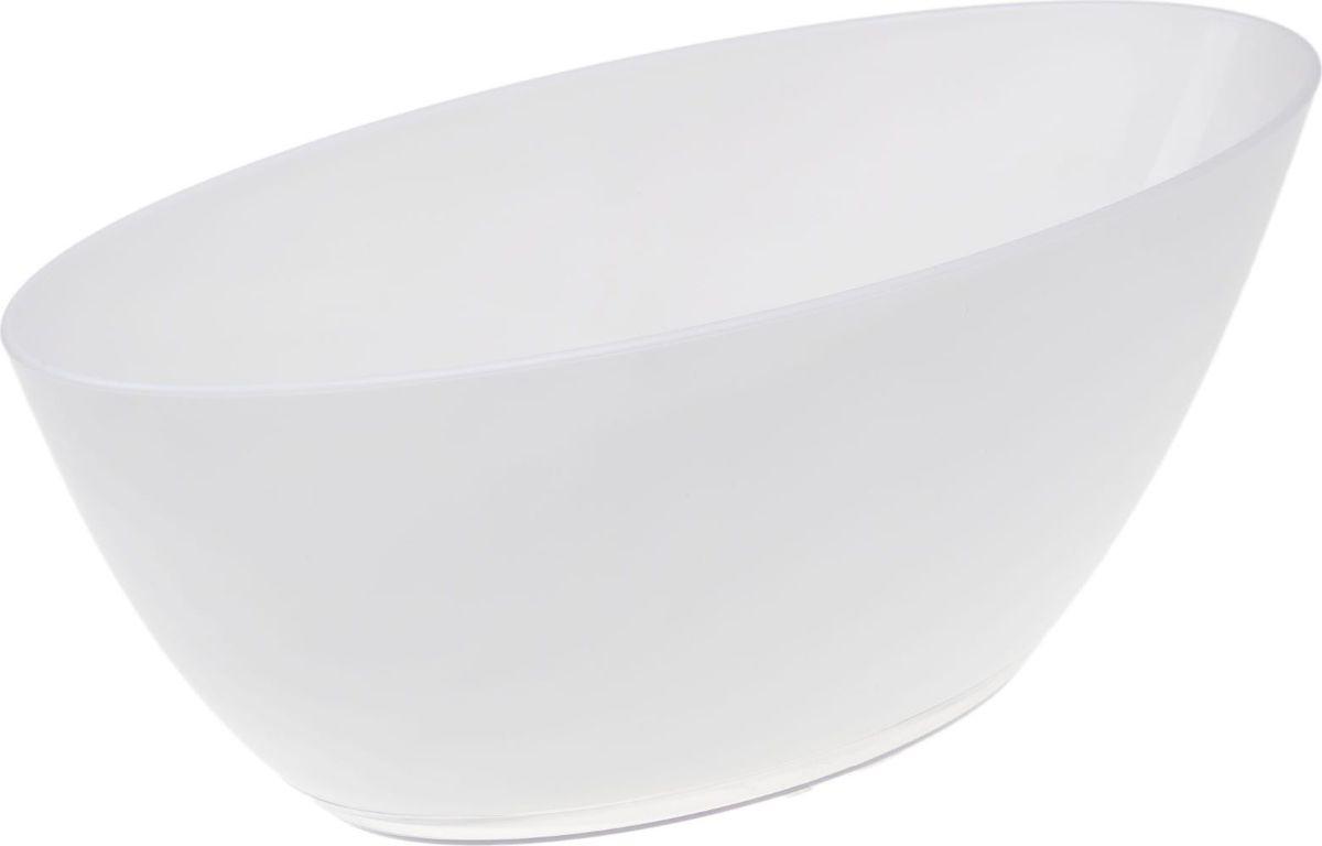 Кашпо JetPlast Лодочка, с поддоном, цвет: белый, 3 л кашпо jetplast альфа с креплением цвет кремовый 1 л