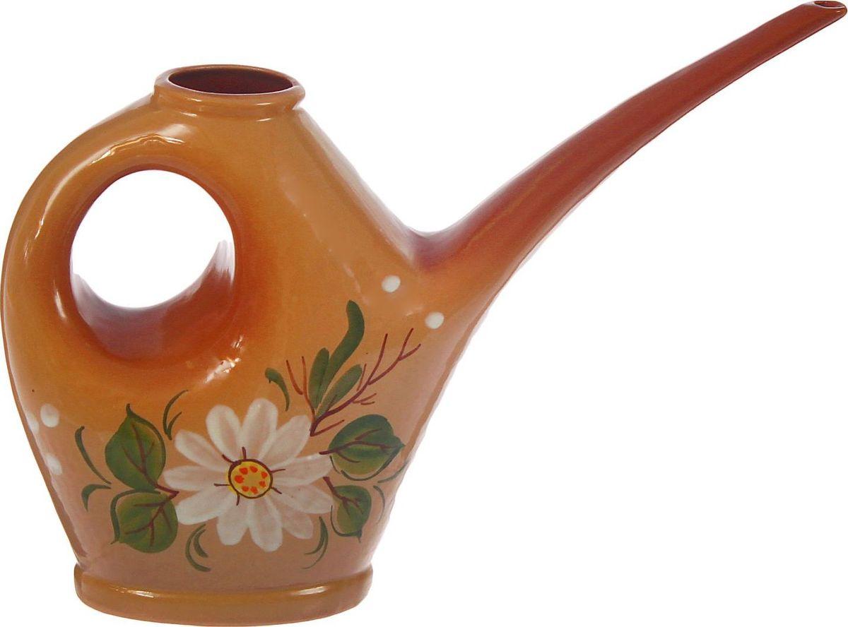 Лейка Цветок, цвет: белый, коричневый, 0,5 л1344120Лейка Цветок - это высокое качество и оригинальный дизайн. Лейка Цветок подойдет для декора и полива цветов дома. Лейка Цветок - может стать оригинальным подарком для цветовода.