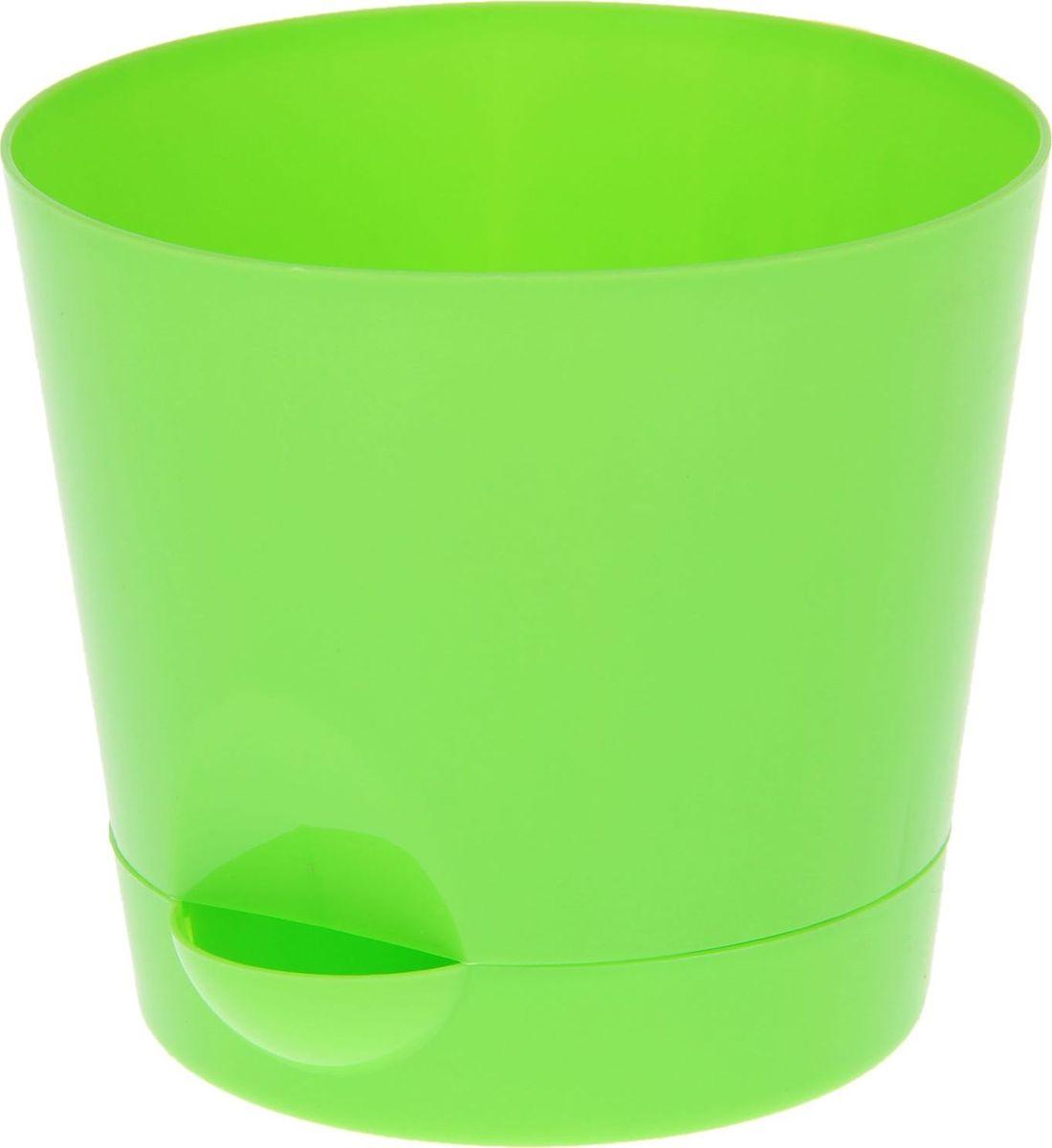 Кашпо Idea Ника, с прикорневым поливом, с поддоном, цвет: ярко-зеленый, 800 мл горшок ника гортензия d12см 0 8л с прикорневым поливом