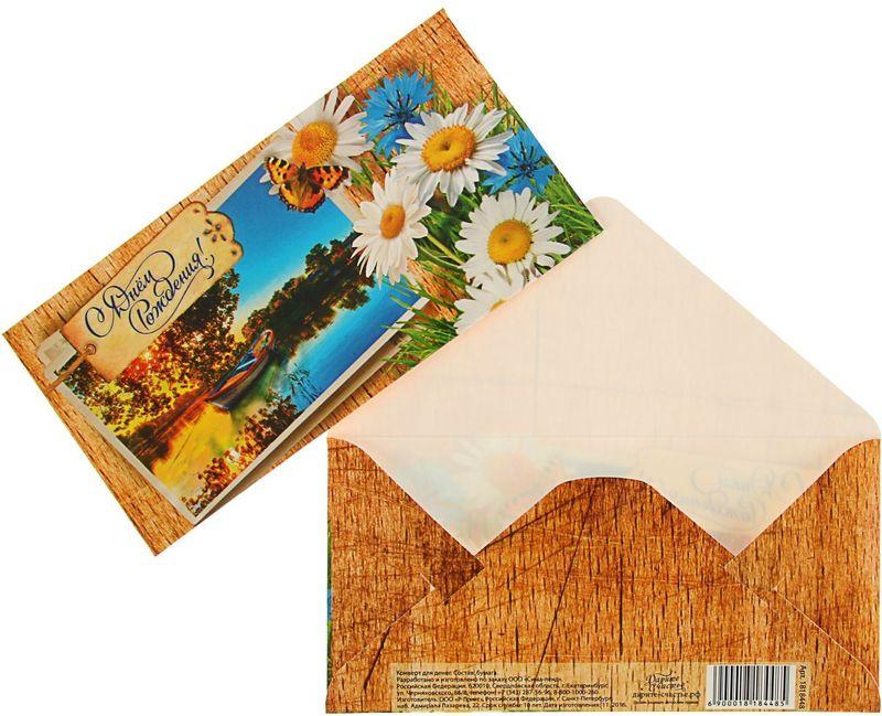 Конверт для денег Дарите счастье С Днем Рождения! Ромашки, 8 х 16 см конверт для денег дарите счастье с днем рождения букет розовых роз 8 1 х 16 5 см