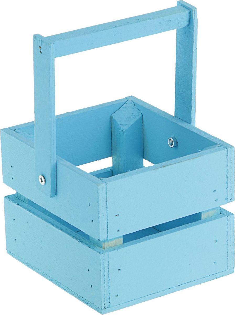Кашпо ТД ДМ Ящик, со складной ручкой, цвет: голубой, 11 х 12 х 9 см кашпо тд дм ящик любовь флористическое 20 х 16 х 9 5 см