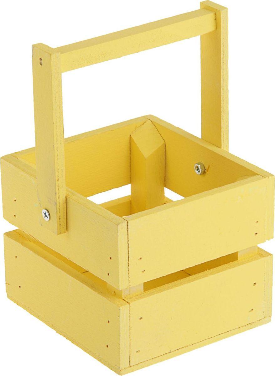 Кашпо ТД ДМ Ящик, со складной ручкой, цвет: желтый, 11 х 12 х 9 см кашпо тд дм ящик любовь флористическое 20 х 16 х 9 5 см