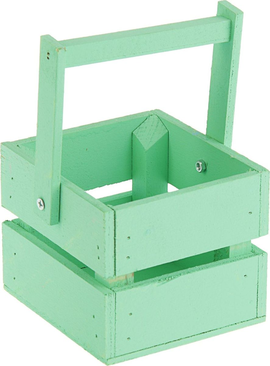 Кашпо ТД ДМ Ящик, со складной ручкой, цвет: зеленый, 11 х 12 х 9 см кашпо тд дм ящик любовь флористическое 20 х 16 х 9 5 см
