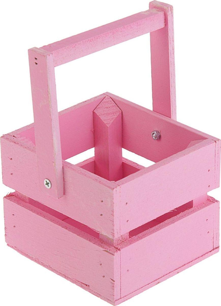 Кашпо ТД ДМ Ящик, со складной ручкой, цвет: розовый, 11 х 12 х 9 см кашпо тд дм ящик любовь флористическое 20 х 16 х 9 5 см